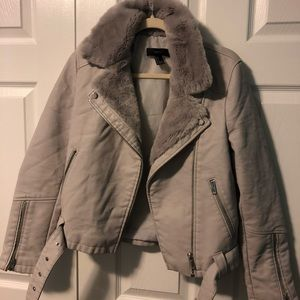 moto jacket with faux fur